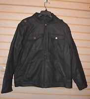 NEW MENS SIZE XL EXTRA LARGE CHARCOAL GRAY WARM HOODED WOOL UTILITY COAT JACKET