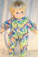 "Doll Clothes Baby Made 2 Fit American Girl Boy 15"" Bitty Sleeper Bears Blue ABC"