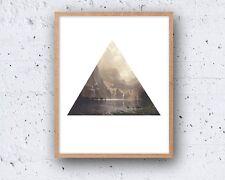 5 x 7in ABSTRACT MODERN mountain lake triangle danish nordic wall art print