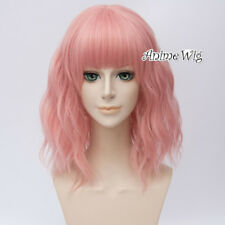 "14"" Lolita Light Pink Medium Curly Women Party Cosplay Wig Heat Resistant+Cap"