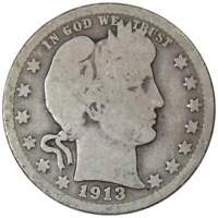 1913 Barber Quarter AG About Good 90% Silver 25c US Type Coin Collectible