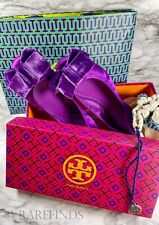 Tory Burch Viola Bow Ballet Flat, Purple Velvet Shoes Size 8, NEW IN BOX w/ Bags