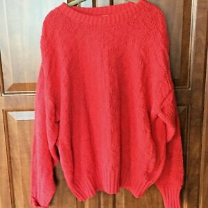 Vintage Eastern Mountain Sport Mens XL  Made In USA Red Crewneck Sweater