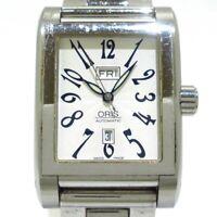 Auth ORIS Rectangular 585-7525-40-02 Silver 25-17546 Mens Wrist Watch