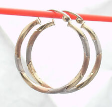 """1"""" Twisted Round Hoop Earrings REAL 10K Yellow White Rose Tri-color Gold"""