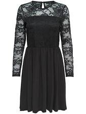 ONLY Damen Spitzenkleid Kleid onlNEW INA DRESS Spitze langarm schwarz Abendkleid