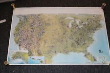 VTG 1989 LARGE CARTOON MAP Cities of USA BY Meridian Graphics Inc Portrait USA