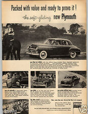 1950 PAPER AD Car Auto Automobile Plymouth Cushion Tires Amola Steel