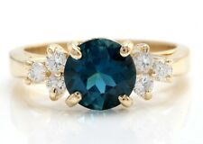 2.40 Carat Natural London Blue Topaz and Diamonds in 14K Solid Yellow Gold Ring