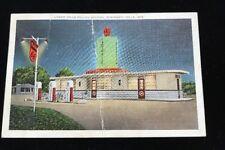 1930s Wisconsin Dells Filling Station Linen Postcard. Art Deco. Phillips 66