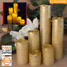 Gold Slim Pillar Electric Fake Flickerings Flameless Battery LED Candles w Timer