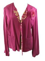 Bob Mackie Studio blazer jacket Size 10 long sleeve pink flower silk womens
