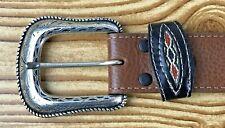 Wranglers Mens Leather Western Aztec/Southwestern handcrafted Belt Brown