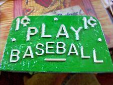 "PaintedCast Aluminum 1¢ Play Baseball Marquee 4"" X 7"" Arcade or Trade Stimulator"