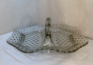 VTG 1940-50's Mid-Century Clear Glass Handled Hobnail Divided Serving Dish Tray