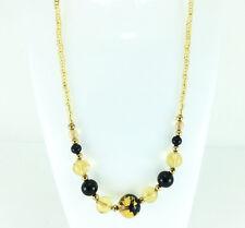 Stunning Murano Necklace 18K Yellow Gold & Black Bead