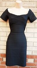 PRIMARK BLACK STRIPE BANDAGE TUBE BODYCON PENCIL PARTY EVENING TEA DRESS 10 S