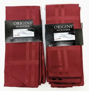 "Qty 4 Origins Microfiber Cloth Set of 2 Napkins 19""x 19"" Ruby NAP/NA2 (8 Total)"