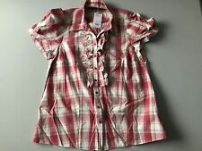 Evans Ladies Top Size 20 Euro 48 Checked Red Shades Button Front With Frills