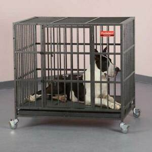"""Extra Heavy Duty Medium 37"""" Steel Dog Crate Strongest Empire Reinforced Dog Cage"""