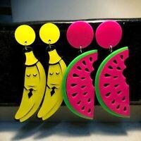 Acrylic Fruit Watermelon Big Earrings For Women Punk Hippop Slice Banana Long