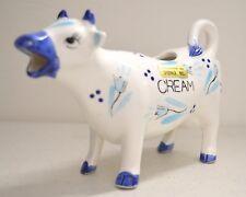 Vintage Enesco Japan Ceramic Blue White Tulip Design Cow Creamer - Made in Japan