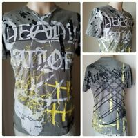 Marc Ecko Men's Gray Printed Paint Splatter V-Neck 100% Cotton Tee T-Shirt S