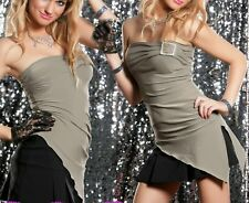 Sexy Miss Femme Bandeau Strass Boucle Top Asymétrique S/M 34/36 Kaki Neuf