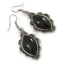 Victorian Style Black Ceramic Stone Diamond Drop Earrings In Silver Tone - 50mm