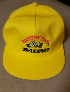 VTG NOS Country Time Lemonade Racing SnapBack Hat K-Products Made in USA Yellow