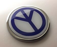 "PEACE 3D Domed Emblem Badge Car Sticker METAL Chrome Bezel ROUND 3 3/8"""