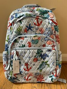 VERA BRADLEY Essential Large Backpack Anchors Aweigh Seahorse Turtle Sea Life