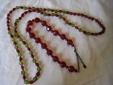 Vintage Necklaces Red Green Beads