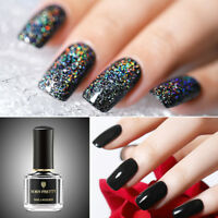 BORN PRETTY 6ml Gloss Pure Black Nail Polish Basic Base Nail Art Varnish Design