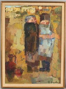 Signed Mid-century Modernist Expressionist Oil Painting, Peasant Women & Pots