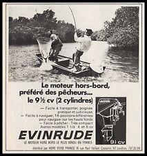 Publicité EVINRUDE  Hors bord Pecheur peche  fisherman  vintage print ad 1961
