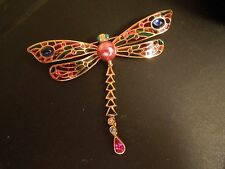 JOAN RIVERS DRAGONFLY RHINESTONE PLIQUE A JOUR CLOISONNE PIN BROOCH ~ 3.25""