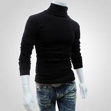 Herren gestrickt Rollkragen Pullover Sweatshirt Pulli Oberteile Freizeit schmal