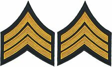 Large Army Yellow Black Sergeant SGT E5 Rank Insignia patches Stitched Edge
