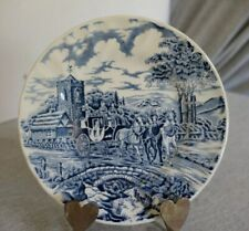 """Royal Wessex England Blue Cottage Carriage Coach Horses Bread & Butter Plate 7"""""""