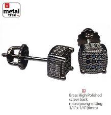 Men's 3D Oval Square Micro Pave BK CZ Setting Screw Back Hip Hop Earrings 977 3T