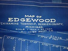 Michigan Map of EDGEWOOD Chikaming Township Berrien County 1893 BLUEPRINTS Rare