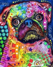 PUG ART PRINT BY DEAN RUSSO 18X22 brilliant bright colors abstract dog poster