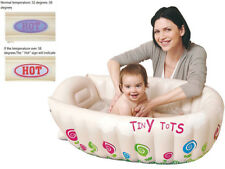 TINY TOTS INFLATABLE BABY BATH TUB HEAT SENSOR TRAVEL INFANT WASHING TUB