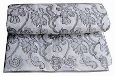 10 Yard Indian Hand Block Print Pure Cotton Fabric Sanganeri Running Fabric Grey