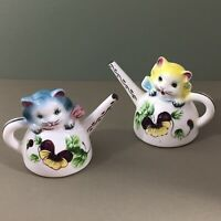 Cats in Watering Cans Vintage Salt & Pepper Shakers Pansy Sprinkling Can Kitties