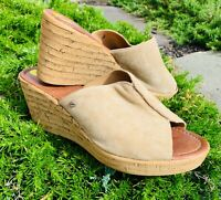 Women's 9 shoes Sandals A. Giannetti Cork Wedge Tan Suede Leather slides Italy