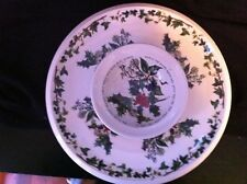 """PORTMEIRION """"THE HOLLY & THE IVY"""" LARGE ROUND 2 PIECE CHIP AND DIP PLATTER MINT!"""