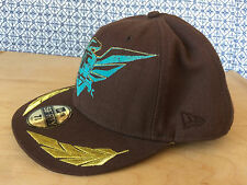 "OAKLEY ""NEW ERA"" Fly 75 59Fifty Brown Hat Cap, Stitched Gold Wings 7 5/8 Fitted"
