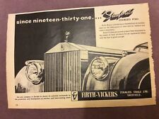 Firth-Vickers Stainless Steel Advertisement - UK  - 1961